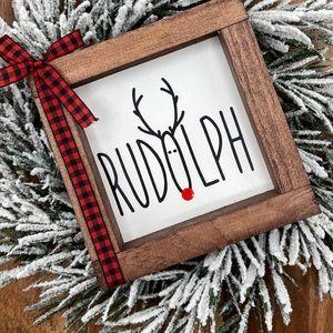 Rudolph mini wood sign